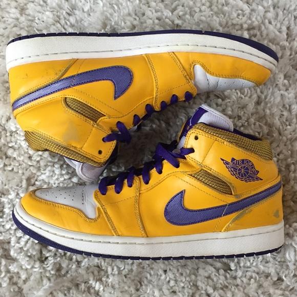 84eb1401559 Nike Shoes | Air Jordan 1 Mid Lakers Yellow 554724708 10 | Poshmark